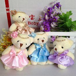 Wholesale Wholesale Wedding Teddy Bears - 12CM 10pcs lot pp cotton kid toys plush doll mini small teddy bear flower bouquets bear for wedding