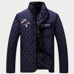 Wholesale Diamond Lattice Jacket - Fall-2016 NEW Sharks Winter Men'S Big yards jacket collar diamond lattice Padded Jacket Thick Cotton Comfortable Shark Brand A248