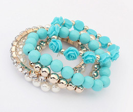 Wholesale Candy Charms For Bracelets - 2016 Trendy Fashion Candy Color Pearl Rose Flower Multilayer Charm Bracelet & Bangle For Women Fashion Jewelry