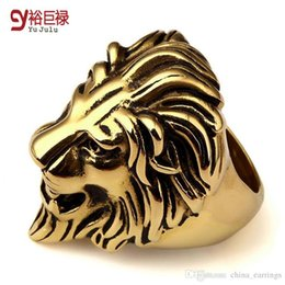 Wholesale Lion Rings For Women - 2016 New hiphop gold rings for men lion head cool ring bague femme punk vintage unisex anillos mujer women 2016 wholesale unique
