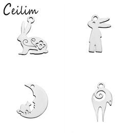Takı yapımı için Kawaii hayvan resim tavşan charms malzemeleri paslanmaz çelik parlatma keçi metal charm fit DIY kolye bilezikler cheap goat jewelry nereden keçi takıları tedarikçiler