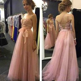 Wholesale Spaghetti Strap Skirt Top - Cheap Blush Pink Prom Dress Spaghetti Straps Prom Dresses Long Formal Evening Party Gowns Lace Appliques Top Sheer Back Tulle Skirt