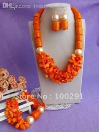 Wholesale Drum Coral Beads - Wholesale-Free shipping!!!Women's Orange Color Drum and petal-shape bead flower African Wedding Coral Jewelry Set
