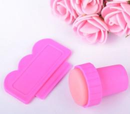 Kit di timbratura per unghie online-Fai da te Nail Stamper Set timbratura Nail Art Kit Nail Stamp plastica raschietto coltello per Image paint Plate Design