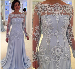 Wholesale Simple Prom Dresses Capped Sleeves - Long Sleeves Vintage Mother of the Bride Dress Groom Beads Plus Size Formal Chiffon Prom Evening Dresses