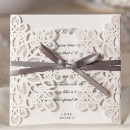 Wholesale Gray Invitations - Wholesale- 100 Pcs Lot, White Laser Cutting Flowers Gray Silk Tie Wedding Invitations Cards with Envelopes and Seals, Free Printing