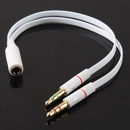 Wholesale Laptop Microphone Audio Adapter - 3.5mm AUX Audio Mic Splitter Cable Earphone Headphone Microphone Adapter Female to 2 Male for PC Computer Tablet Laptop