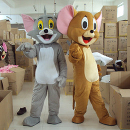 Wholesale Cat Mascot Costume Fancy Dress - Hot sell Tom Cat and Jerry Mouse Mascot Fancy Dress Outfit Chirstmas Halloween Costumes Suit Birthday Party character Costume
