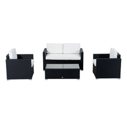 Wholesale Outdoor Rattan Sofas - 4-Piece Cushioned Outdoor Rattan Wicker Sofa Sectional Patio Furniture Set,Outdoor Garden Patio Wicker rattan Sofa Furniture Set,Wicker Sofa