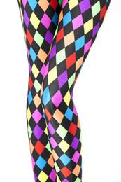 Wholesale Colorful Pants For Women - Wholesale- Russian Checked Print Leggings Mardi Gras Jester Party Joker Clown Pants Colorful Novelty Fashion Leggings Leggins for women D28