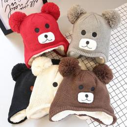 Мальчики зимние теплые шапки мультфильм медведь шаблон шапки дети вязаные шапки ушанки шапочки детские Девушки милые животные Sckullies от