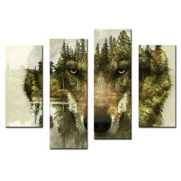 Wholesale piece tree canvas wall art - 4 Pieces Canvas Paintings Wall Art Picture for Home Decor Wolf Pine Trees Forest Animal Print On Canvas with Wooden Framed