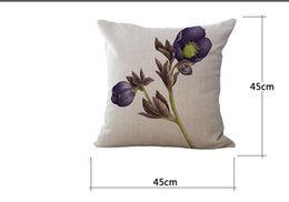 Wholesale Sofa Backrest - Free Shipping wholesale Rose Flower pattern Cotton throw pillow Sofa Office Car Backrest Cushion 45*45 Cm Hot Gift