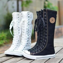 Wholesale Women High Heels Sneakers - Wholesale-Free Shipping Hot Sale Ladies Girls Canvas Boots Women Punk EMO Knee High Sneakers Fashion Causal Shoes Gothic lace-up Boots