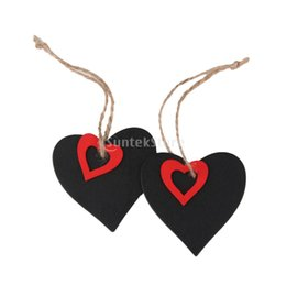 Wholesale Chalkboard Tags Wholesale - Wholesale- 10pcs Mini Heart Chalkboard Tags with String Free Shipping
