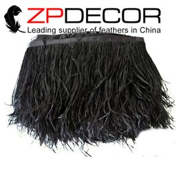 Wholesale Wholesale Ostrich Feather Trimming - Leading Supplier ZPDECOR Exporting 10-15cm(4-6 inch)Best Quality Dyed Black Ostrich Feather Trim for Evening Dress Decorations