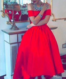Wholesale Elegant Stunning Dress - Stunning Red Satin Off Shoulder Short Sleeve Ball Gown Arabic Evening Dress vestido de formatura Elegant Hi Lo Prom Party Dress 2016