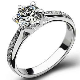 Wholesale Statement Diamond Ring - Size 5-11 Genuine 925 Sterling Silver Wedding Engagement Ring Solitaire Cocktail Propose Statement Bridal Party Anniversary
