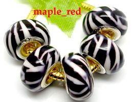 Wholesale Zebra Necklace Beads - 100 PCS Lot Zebra Stripe Resin European Charms Beads Fit European Bracelet and Necklace Low Price