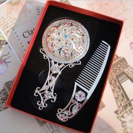 Wholesale Vintage Hair Combs - Hot sale royal vintage pocket Mirror Compact Mirrors Comb Set golden silver bronze color for option