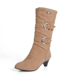 Wholesale Tan Belt For Women - Boots for women soft leather tube slope with soft surface belt buckle Martin boots women shoes . XZ-078