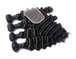 Wholesale Weave Head Closure - Full Head Brazilian Hair Deep Wave Hair Bundles with Top Closure 4*4 100% Human Hair Extension Natural Black Color Dyeable,Free DHL