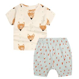 Wholesale Popular Boys Clothing - Kid Clothing Set Banana Fox Boys Girls T Shirt Hot Pant Short Trousers Summer INS Popular Printed Short Sleeve Yellow Soft Birthday Gift