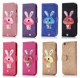Wholesale Iphone Case Leather Cartoon - 3D Rabbit Liquid Leather Wallet Case For Iphone 7 Plus 6 6S SE 5 5S Glitter Star Bling Glitter Quicksand Cartoon Cute ID Card Slot Pouch
