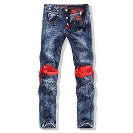 Wholesale Fashion Mens Leather Biker Jeans Knee Patched Skinny Acid Washed Straight Denim Biker Jeans Red patch jeans cool