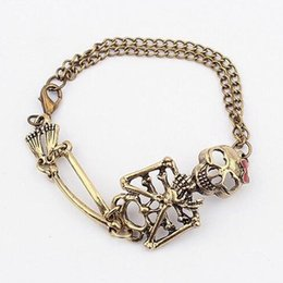 Wholesale Bronze Toggle - Retro fashion exaggerated skull Fashion Bracelet Skull Link Chain Bronze Silver Plated charm bracelet for Birthday Gift