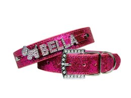 Wholesale Dog Harness Letters - Free Shipping PU Leather Bling Personalized Dog Collar Customized Free Name Rhinestone Buckle Pink Letter XS S M L XL