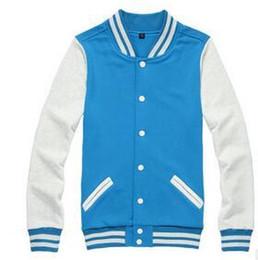 Wholesale Wholesale Basketball Uniform - Wholesale New men Hoodies & Sweatshirts autumn fashion casual baseball uniform color matching cuff basketball men's fleece jacket