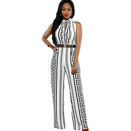 Wholesale Maxi Pants - 2016 New Clubwear Fashion Women Sleeveless Maxi Overalls Print Gold Belted Wide Leg Jumpsuit macacao long pant
