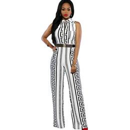 Wholesale Maxi Dress Belt White - 2016 New Clubwear Fashion Women Sleeveless Maxi Overalls Print Gold Belted Wide Leg Jumpsuit macacao long pant