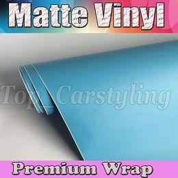 Wholesale Matt Blue Wrap - Baby Blue Matte Car Wrap Film With Air Bubble Free Matt Vinyl For Vehicle Wrapping Body Covers foil Vinyle 1.52x30m Roll (5ftx98ft)