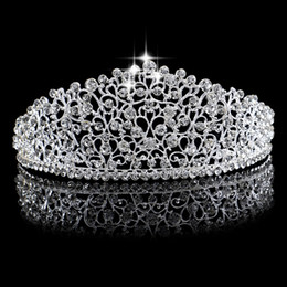 Wholesale Hair Crystals For Wedding - Gorgeous Sparkling Silver Big Wedding Diamante Pageant Tiaras Hairband Crystal Bridal Crowns For Brides Prom Pageant Hair Jewelry Headpiece