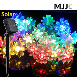 Wholesale Blue Flower String Lights - Solar Outdoor Lotus Flower String Lights 30 50 LEDs Solar Powered Fairy Lights Blossom Decorative Light waterproof for Christmas Wedding