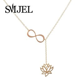 Wholesale Wholesale Lotus Flower Jewelry - Wholesale-2016 New Fashion Infinity Lotus Lariat Pendant Necklace for Women Y Style Chain Flower Necklace Jewelry Gift N043