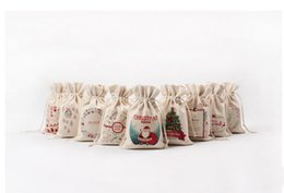 Wholesale Personalized Paper Gift Bags - 9styles Christmas Gift Bag Wholesale canvas cotton elk Santa Claus Drawstring Bag Personalized Delivery Gifts Santa Sack bag 16*23.5cm
