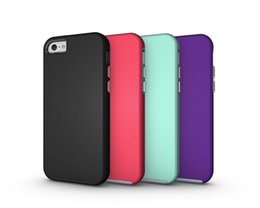 Wholesale Two Phones One Case - For iphone 5 5S 5SE 7 8 plus phone case Two in one armor phone shell TPU shatter-resistant candy colors case