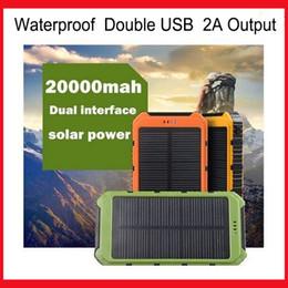 Wholesale Power Bank Connectors - 20000mAh Solar Power Bank Dustproof Shockproof Waterproof Solar Power Banks 2A Output Four connectors Powerbank with Retail Pacakge