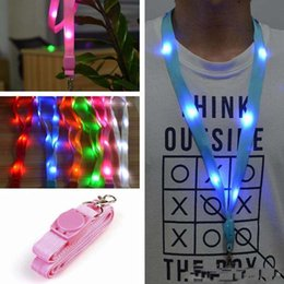 Wholesale Lanyard Men - 6 Color LED Nylon Neck Lanyard Strap Flashing Led Necklace ID Card Pendant Hanging Cord Rope For Men Women