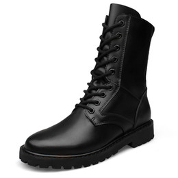 Wholesale B 52 - 37-52 Big Size Genuine Leather Men Boots Lace Up High Top Men Military Desert Leather Boots Men Fashion Round Toe Boots