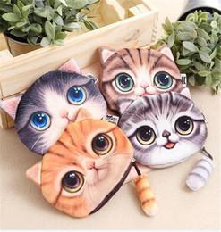 Wholesale Printer Cartoon - 500pcs 4 Design 3D Printer Cat face Cat Coin Purse Bag Wallet Girls Clutch Purses Change Purse cartoon handbag case D639