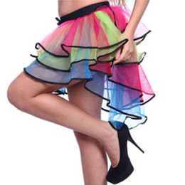 Wholesale Fancy Dress Cocktails - Colorfull RainBow Tulle Skirt High Low Sexy Party dresses balletto Dancing Dresses Cheap Fancy Lovely Cocktail Dresses
