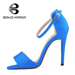 Wholesale Shoe Less Sandals - Big size 35-42 European Roman Style Sexy High Heels Ankle Straps Peep Toe Less Platform Wedding Summer Shoes Women Sandals