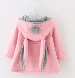 Wholesale Cute Red Jackets - Hot Cute Rabbit Ear Hooded Baby Girls Coat New Autumn Tops Kids Warm Jacket Outerwear & Coat Children Clothing Baby Wear Girl Coats