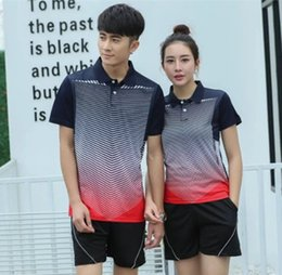 Wholesale Sports Shirts Collar - 2017 Short Turn-down collar Couples mounted Men and women's Tennis Shirts shorts kit Perfect quality sports Suit Badminton Table Tennis clo