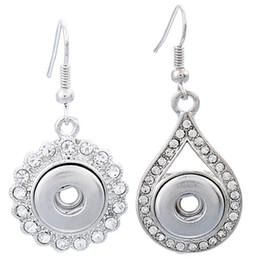 Gli orecchini scintillanti di noosa online-20 paia pulsante Noosa Chunk Snap cristallo strass fiore orecchini in lega goccia d'acqua donne gioielli fai da te borchie pulsante ciondola 12mm E755E