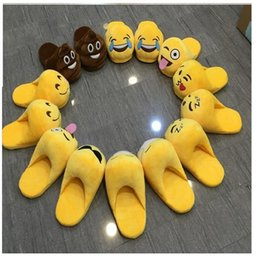 Wholesale Warm Slippers For Women - Big Size Emoji Smile Plush Novelty Slipper Shoes 28cm Emoji Soft Warm Household Winter for Women and Man Embroidery Slippers Christmas Gift